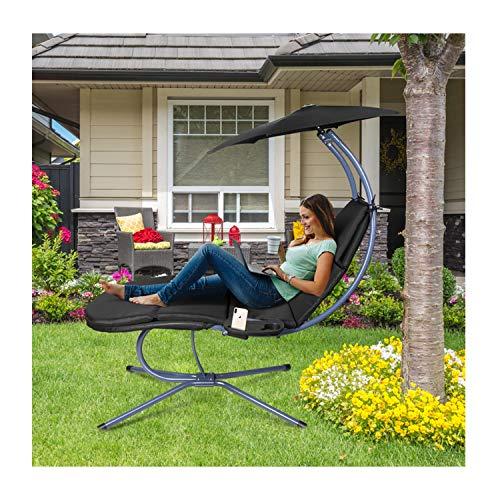 RANSENERS® Schaukelliege Sonnenliege Gartenliege Relaxliege mit Verstellbarer Sonnenschirm und Getränkebecherhalter, bis 160kg belastbar, mit Deutschem TÜV-Bericht