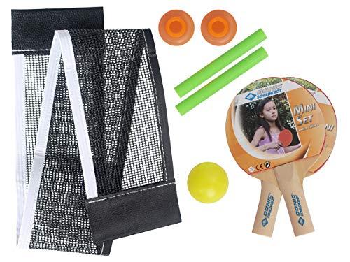 Donic-Schildkröt Mini Tischtennis-Set, 2 kleine Schläger 14,5x9cm aus Holz, Netz mit Saugnapfpfosten, 1 Ball Ø35mm, spontanes Tischtennisspiel an fast jedem Tisch, 788435