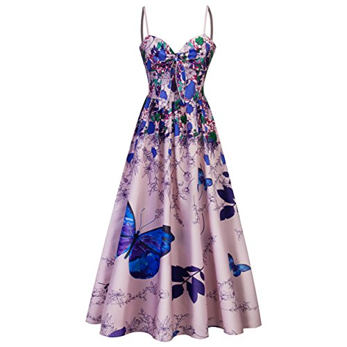 Damen A-Linie Strandkleid Sommerkleider mit Blumen-Schmetterling-Muster Blau Maxilang Gr.L