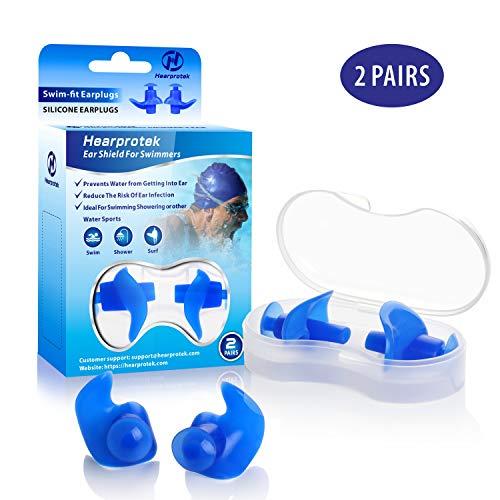Hearprotek Ohrstöpsel Schwimmen Erwachsene, 2 Paar wasserdichte Wiederverwendbare Silikon Ohrstöpsel für Schwimmer beim Duschen beim Surfen und Anderen Wassersportarten (Blau)