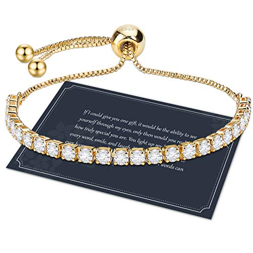 Goldene Armband Damen Zirkonia Armband Armkette Damen Gold Kristall Diamant Armband 3mm Dünn Verstellbar Tennis Armband 23cm Einstellbar Armband Geschenk mit Box für Mädchen Mutter Tochter Freund