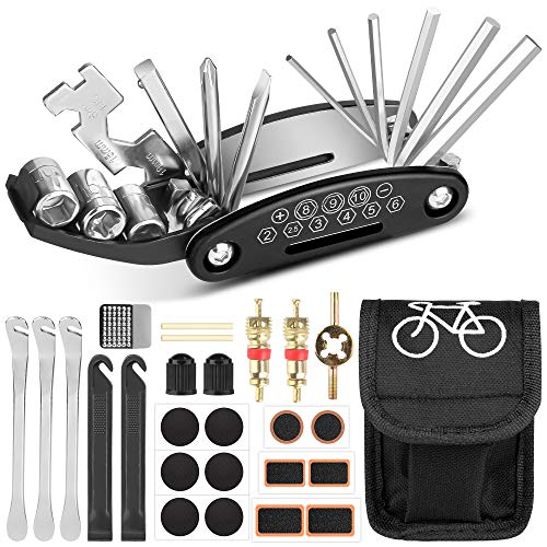 Sylanda Fahrrad Multitools, 16 in 1 Fahrrad Reparatur Set, Werkzeuge für Fahrrad, Multifunktionswerkzeug Fahrradflicken, Selbstklebend Multitool, Fahrradwerkzeug Tool mit Tasche