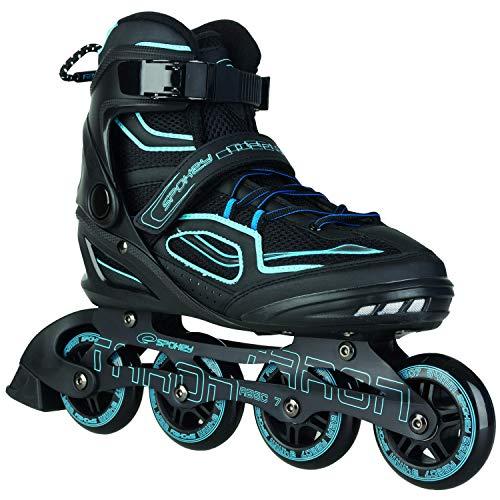 Spokey Kinder und Erwachsene Inline Skates mit verschleißfesten Rädern und widerstandfähigen Bremsklötzen, Taron – Blau, 44