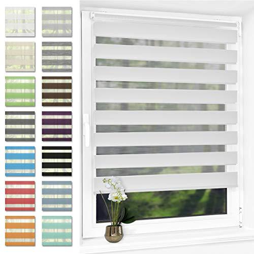 Doppelrollo klemmfix Duo Rollo ohne Bohren,Rollos für Fenster und Tür,lichtdurchlässig und verdunkelnd 60 x 120 cm(BxH) Weiß