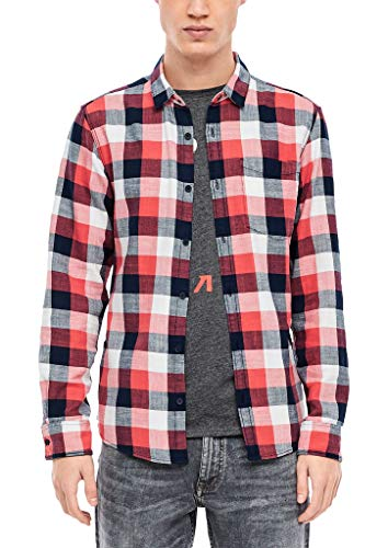 Q/S designed by - s.Oliver Herren Extra Slim: Twill-Hemd mit Karos light orange check M