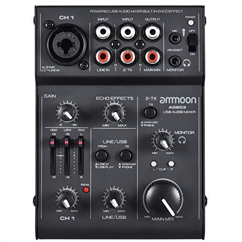 ammoon Mischpult Mixer AGE03 5-Kanal Mini Mic-Line Mixer mit USB Audio Interface Eingebauter Echo Effekt USB Powered für die Aufnahme DJ Network Live Sendung Karaoke