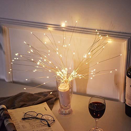 LED Lichterkette, Queta Lichtkette mit Fernbedienung Outdoor Weihnachtslichterkette Batteriebetrieben, explodierendes Feuerwerk, Warmweiß (150 Lichter)