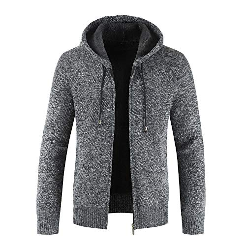 Xmiral Herren Stricken Jacke Mantel Lässige Zipper Kordelzug Hoodie Outwear Pullover (L,Schwarz)