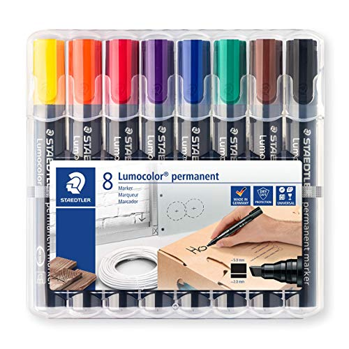Staedtler Lumocolor 350 WP8 permanent marker, Keilspitze, 2 mm oder 5 mm, aufstellbare Box mit 8 farben