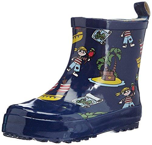Playshoes Kinder Halbschaft-Gummistiefel aus Naturkautschuk, Trendige Unisex Regenstiefel mit Reflektoren, mit Piraten-Muster, Blau (Marine), 23 EU