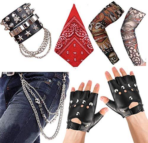 Aperil Punk Gothic Rocker Kit 70er 80er 90er Jahre Kostüm mit Bandanas, Men Lederarmband, Punk Handschuhe mit Nieten, Tattoo Armstrumpf, Schädelhose Hose Schlüsselkette für Karneval Fasching Party