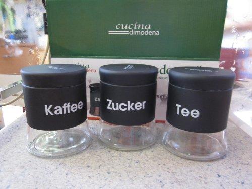 Cucina di Modena Kaffeedose: Vorratsdosen-Set für Tee, Kaffee & Zucker, 3 Stk. (Zuckerdose)