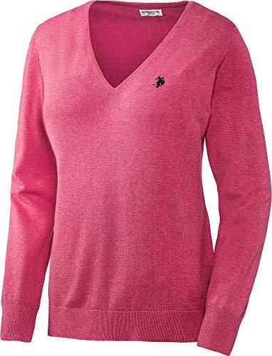 U.S. POLO ASSN. Damen Baumwoll Pullover mit V-Ausschnitt in Pink, angenehm zu tragen und sehr hautfreundlich, Größe: S-XL, Menge: 1 Stück