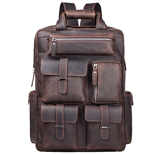 S-ZONE Herren Echtes Leder Handgefertigte von 15,6 bis 17 Inch Laptop Rucksack mit Mehreren Taschen Reisesporttasche