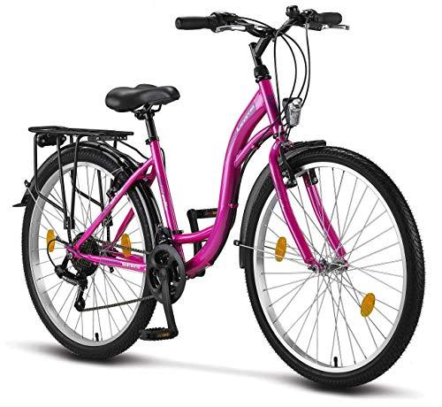 Licorne Bike Stella (Rosa) 26 Zoll Damenfahrrad, CTB ab 145 cm, Fahrrad-Licht, Shimano 21 Gang-Schaltung, Damen-Citybike, Mädchen-Citybike, Mädchenfahrrad