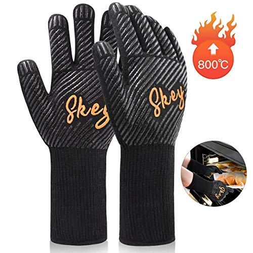 Grillhandschuhe Ofenhandschuhe Grill Handschuhe zubehör Hitzebeständige bis zu 800 ° C Universalgröße Kochhandschuhe Backhandschuhe für BBQ Kochen Backen und Schweißen-Klassisch Schwarz