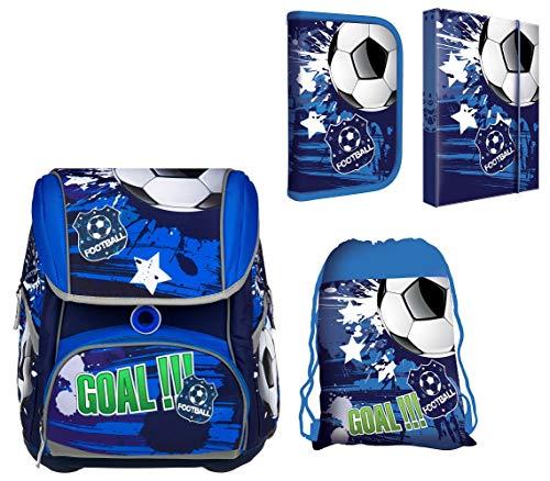 SCOOLSTAR Fußball Schulranzen Jungen 1 Klasse Tornister Schulrucksack Schultasche | SEHR LEICHT | Set 4 TLG. | inkl. Federmäppchen, Turnbeutel, A4 Heftbox