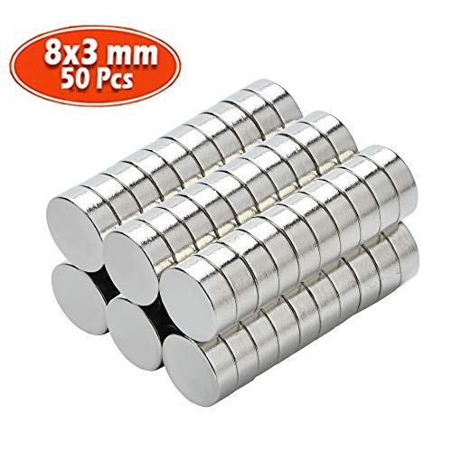 Yizhet 50 Stück Neodym Magnete Ultra-stark Magnet Supermagnete Haushaltsmagnete 8x3 mm Mini Magnet für Magnettafel, Whiteboard, Tafel, Pinnwand, Kühlschrank u.v.m. (8 x 3 mm)