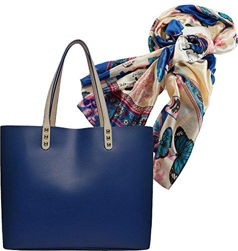 Portogarda Shopper Tasche City Damenhandtasche absolut im Trend als Geschenk-Set mit elegantem großem Tuch in Seidenoptik Schmetterling und Floralem Muster ca. 90 x 180cm