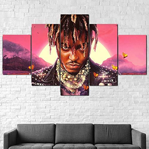 IMXBTQA 5 Teilig Leinwand Wanddeko Juice Wrld Rapper Malerei Leinwanddrucke Geschenk 5 Stück Leinwand Bilder Moderne Wandbilder XXL Wohnzimmer Wohnkultur 150X80Cm