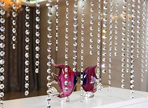 10x 1M Türvorhang Kristall Girland Crystal Clear Acrylic Bead Garland hängende Partei Dekor Hochzeit DIY Dekor Anhänger Perlenvorhang ( Klar Octagonal Perlen )