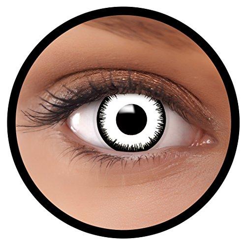 Farbige Kontaktlinsen weiß Vampir   Ideal für Halloween, Karneval, Fasching oder Fastnacht   Inklusive Behälter von FXEYEZ   Ohne Stärke als 2er Pack