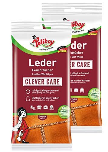 Poliboy - Leder Feuchttücher - perfekte Reinigung für Glatt- und Kunstleder - 2er Pack - 2x20 Tücher - Made in Germany