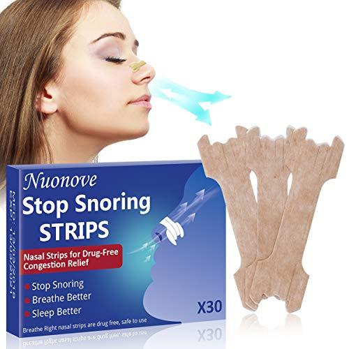 Nasenpflaster Schnarchen, Nasenstrips, Gegen Schnarchen, Schnarchstopper für maximalen Halt in der Nacht beim Schlafen gegen Schnarchen und bessere Nasenatmung beim Sport, 30 Stück