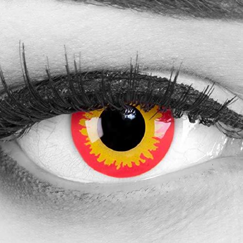 Meralens A0627 Wild Fire Kontaktlinsen mit Pflegemittel mit Behälter ohne Stärke, 1er Pack (1 x 2 Stück)