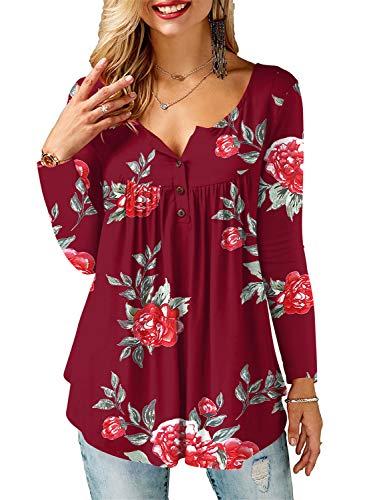AMORETU Tunika Damen Blumen T-Shirt V Ausschnitt Knopfleiste Bluse Oberteil,1-weinrot,44(L)