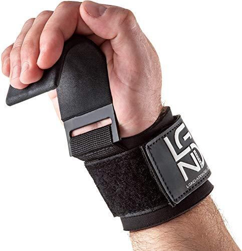 LEGEND Power-Zughaken für Profis - Neopren & Klettverschluss - 2er Set - Powerlifting Zughilfen mit Metall-Haken Fitness Bodybuilding Krafttraining