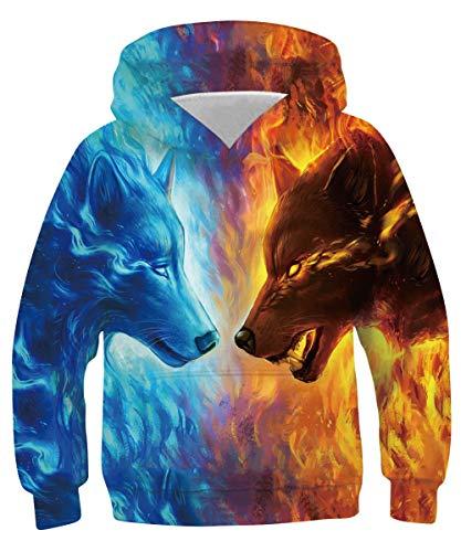 RAISEVERNUnisex Winter Herbst Regenbogen 3D Printed Leichtes Sweatshirt Hoodies für Teen Jungen Mädchen