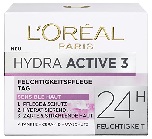 L'Oreal Paris Hydra Active 3 Tagespflege, mit Vitamin E und UV-Schutz für sensible Haut, spendet intensiv Feuchtigkeit, 50 ml