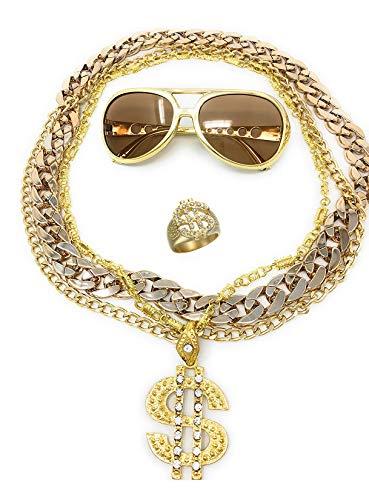 BABO Lude Macho Prolethen Hiphop Rapper Sets 4 bis 5 teilig Ketten Brille Ring (Rockstarbrille-Dollarkette)