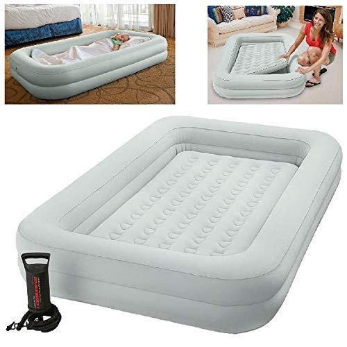 Intex, Kinderreisebett, aufblasbare Matratze, Luftbett mit Pumpe, Grau, 3-6 Jahre