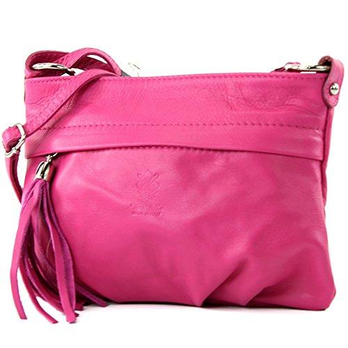 modamoda de - T32 - ital Umhängetasche Klein aus Nappaleder, Farbe:Pink