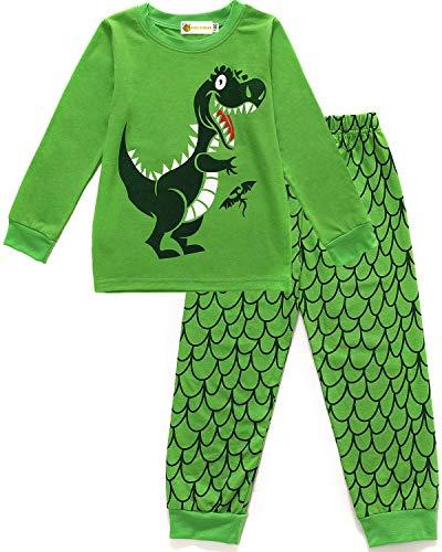 MOLYHUA Dinosaurier Schlafanzug Jungen Langarm Zweiteiliger Schlafanzüge für Jungen Baumwolle Pjs Kinder Weihnachten Nachtwäsche 92 98 104 110 116 122