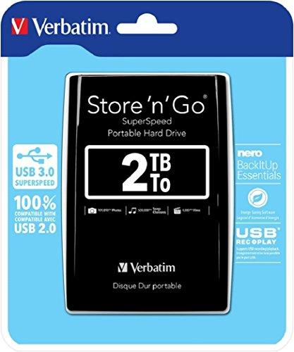 Verbatim Store 'n' Go SuperSpeed I 2 TB I Schwarz I Externe Festplatte I USB 3.0 I Festplatte extern I für Windows & Mac OS X & Linux I tragbare Festplatte I USB Festplatte I Hard Drive