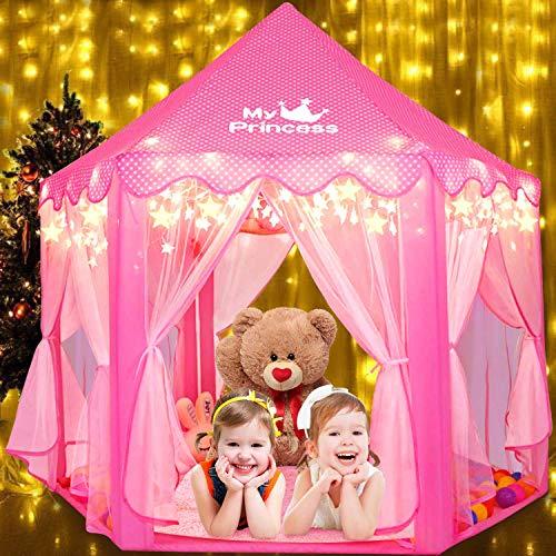 Fivejoy Kinderspielzelt Mädchen Prinzessin Zelt Innen & Draussen Castle Spielzelt Kinder Schloss Zelt mit 2 Modes Sternenlicht - Weihnachten, Geburtstag Geschenk für Kinder ( Rosa )