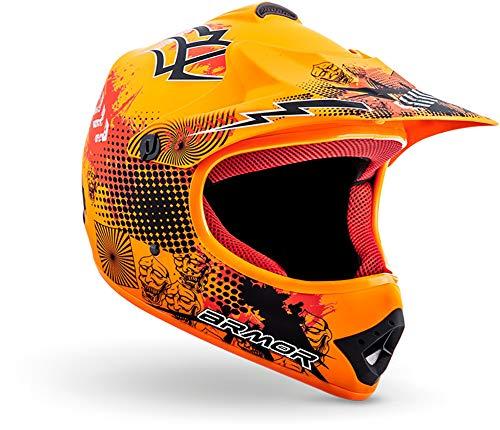 """armor HELMETS® AKC-49 """"Limited Orange"""" · Kinder Cross-Helm · Motorrad-Helm MX Cross-Helm MTB BMX Cross-Bike Downhill Off-Road Enduro-Helm Sport · DOT Schnellverschluss Tasche L (57-58cm)"""