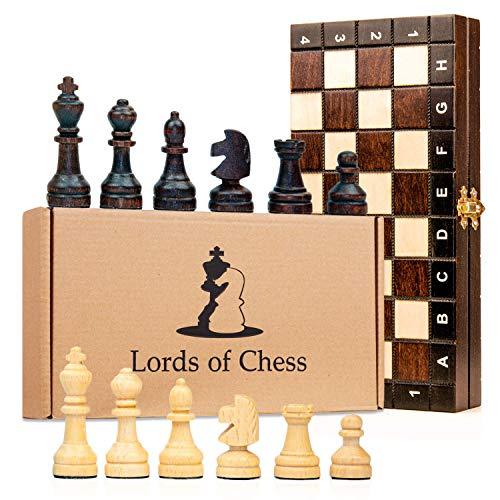 Amazinggirl Schachspiel Schach Schachbrett Holz hochwertig - Chess Board Set klappbar mit Schachfiguren groß für Kinder und Erwachsene 26 x 26 cm