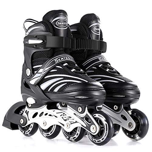 Kinder Inliner Herren Damen verstellbare Inlineskates Größe 26-43 Unisex Fitness Skates für Erwachsene Rädern Rollschuhe für Jungen Mädchen Anfänger Dreifacher Sicherheitsschutz-M(34-38) schwarz