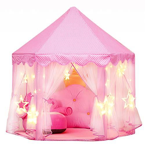 joylink Kinderspielzelt, Mädchen Prinzessin Zelt mit Sterne Lichterkette Kinder Schloss Zelt Spielhaus, Prinzessin Castle Spielzelt Innen & Draussen Castle Spielzelt Geschenk, 53 '' x 55 '' (DxH)