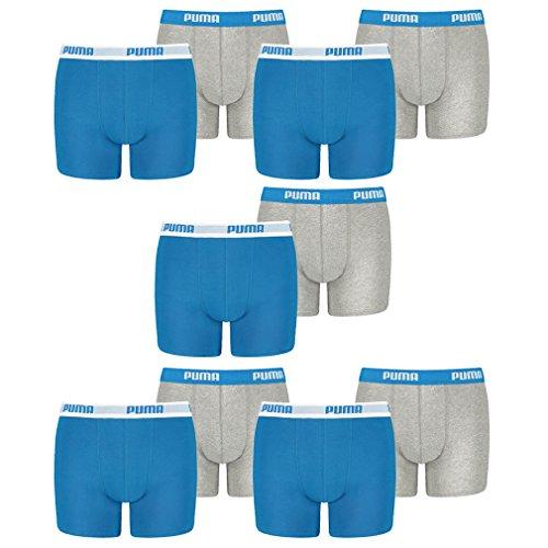 PUMA 10 er Pack Boxer Boxershorts Jungen Kinder Unterhose Unterwäsche, Farbe:417 - Blue/Grey, Bekleidung:140