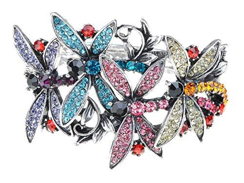 Alilang Damen Frau Bunt Strass Kristall Schmetterlings Libellen Garten Silber Armreif Armband