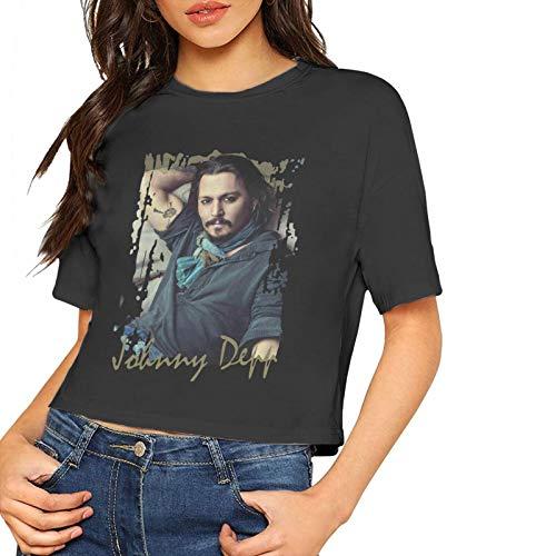 John J Littlejohn Damen-T-Shirt, kurzärmelig, Johnny Depp, bedruckt, bauchfrei, bequemes T-Shirt
