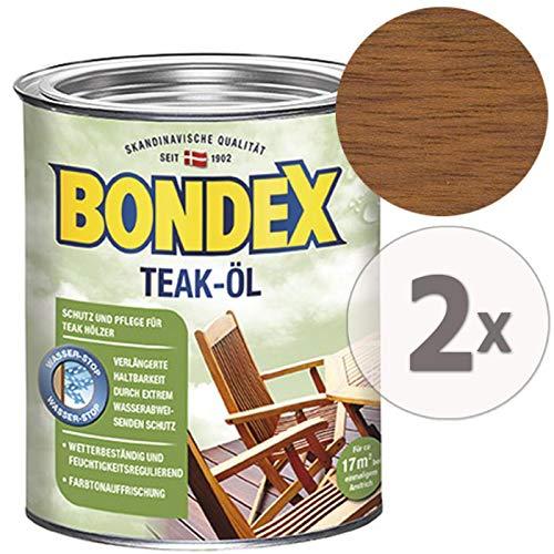 Gardopia Sparpaket: Bondex Teak-Öl Teak 7059, Schutz, Pflege & Farbauffrischung, 2 x 750 ml