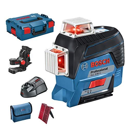 Bosch Professional Linienlaser GLL 3-80 C (mit App Funktion, Halterung, Arbeitsbereich: bis zu 30m, 1 Akku, 12 Volt, in L-BOXX)