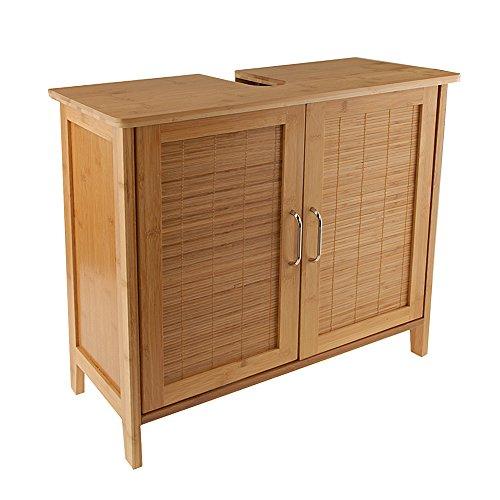 Bambus Waschtischunterschrank Bambusschrank Badmöbel Waschbecken Unterschrank braun
