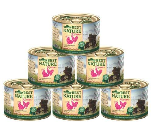 Dehner Best Nature Katzenfutter Kitten, Geflügelherzen mit Reis, 6 x 200 g (1.2 kg)